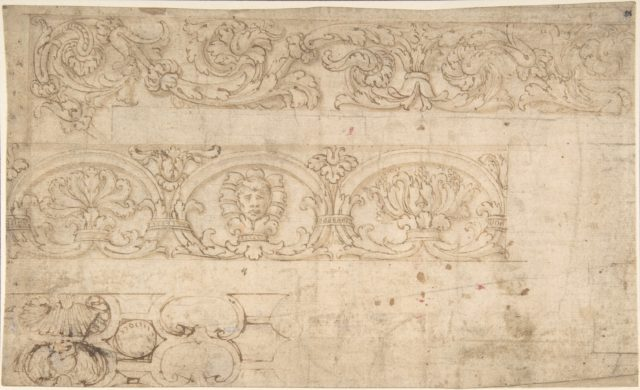 Ornamental Design after the Antique; Bands of Acanthus Rinceaux, Figurated Palmettes, and Shell Cartouches