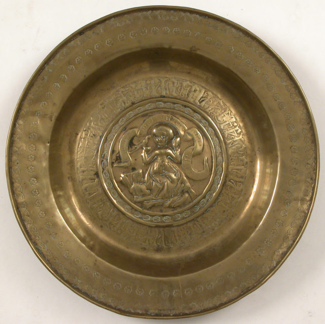 Plate, Woman Holding Bird and Inscription