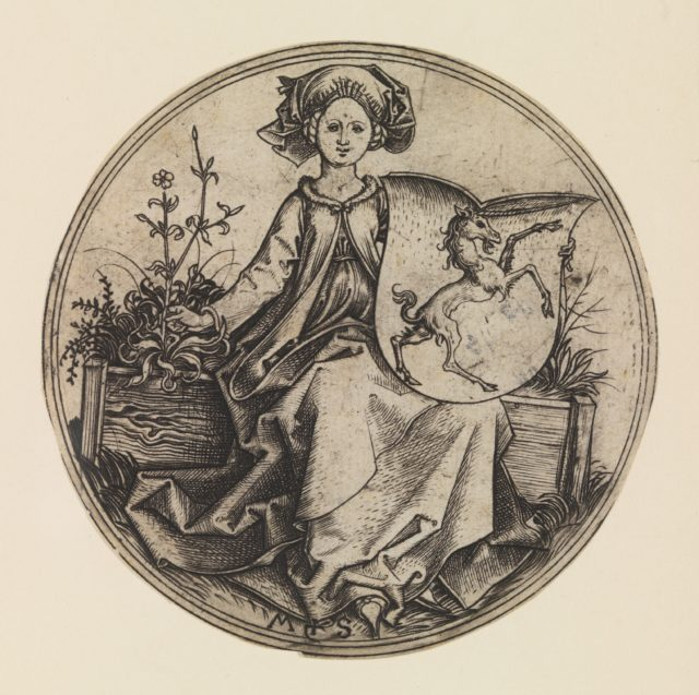 Seated Lady Holding a Shield with an Unicorn