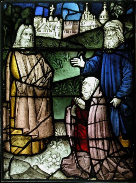 Stained Glass Panel with a Holy Man and Two Suppliants