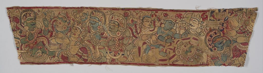 Textile Fragment with Gods and Demons, Likely a Scene from the Devi Mahatmya