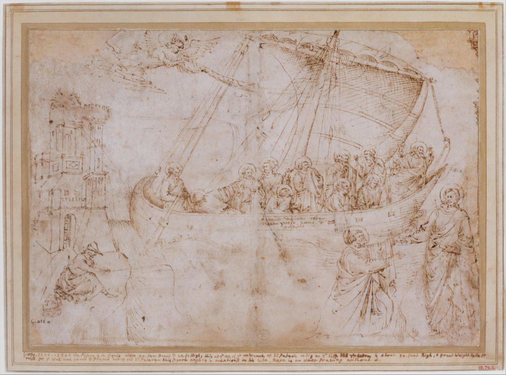 Free Copy of Giotto's Navicella (recto); Copy of Adam in Masaccio's Expulsion from the Garden of Eden, and other Figure Studies (verso)