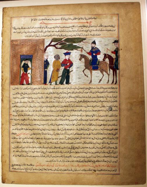 """Captured Indian Raja Brought to Sultan Mahmud of Ghazni"", Folio from a Majma al-Tavarikh (World Histories)"