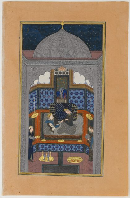 """""""Bahram Gur and the Indian Princess in the Dark Palace on Saturday"""", Folio 23v from a Haft Paikar (Seven Portraits) of the Khamsa (Quintet) of Nizami"""