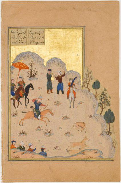 """Bahram Gur's Skill with the Bow"", Folio 17v from a Haft Paikar (Seven Portraits) of the Khamsa (Quintet) of Nizami"