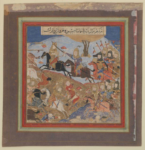 """""""Zal Slays Khazarvan and Puts Shamasas to Flight"""", Folio from a Shahnama (Book of Kings)"""