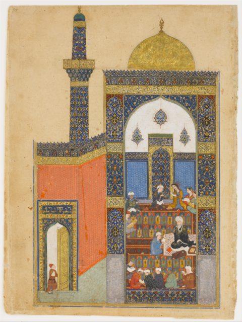 """Laila and Majnun at School"", Folio from a Khamsa (Quintet) of Nizami"