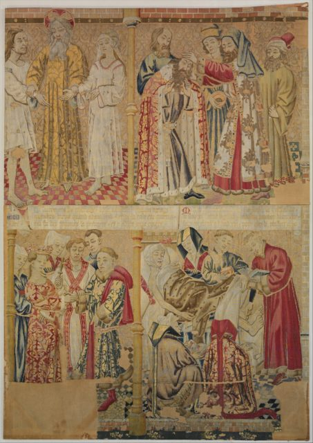 Scenes from the Story of the Seven Sacraments, God the Father Uniting Adam and Eve, and David Being Annoited King at Hebron