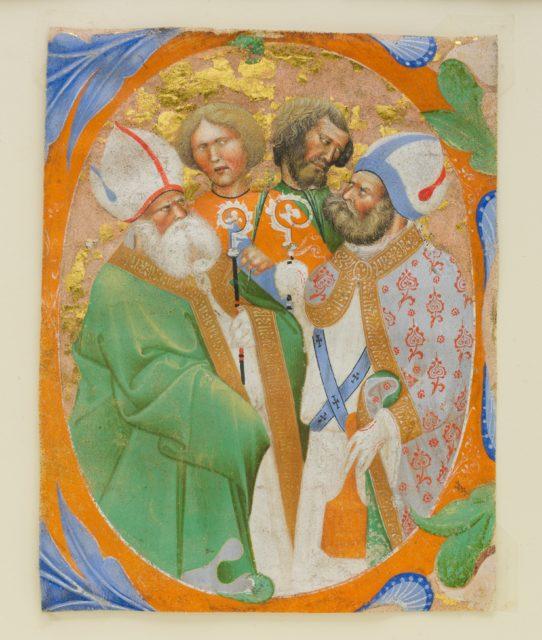 Manuscript Illumination with Four Saints in an Initial O, from a Choir Book