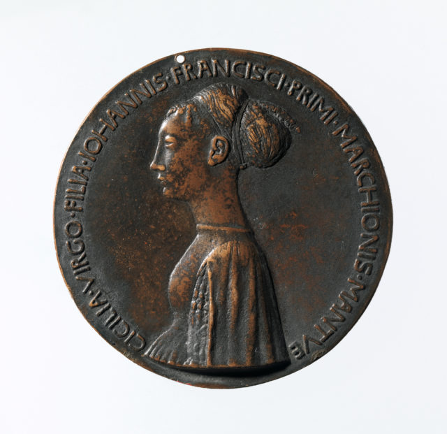 Portrait medal of Cecilia Gonzaga (obverse); Innocence and a Unicorn in a Moonlit Landscape (reverse)