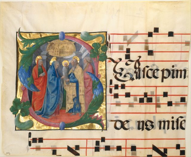 Manuscript Illumination with the Presentation in the Templ in an Initial S, from a Gradual