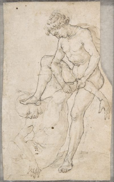 A Warrior Subduing Another (recto); Warrior Seen in Bust-Length with Fantastic Helmet (verso)