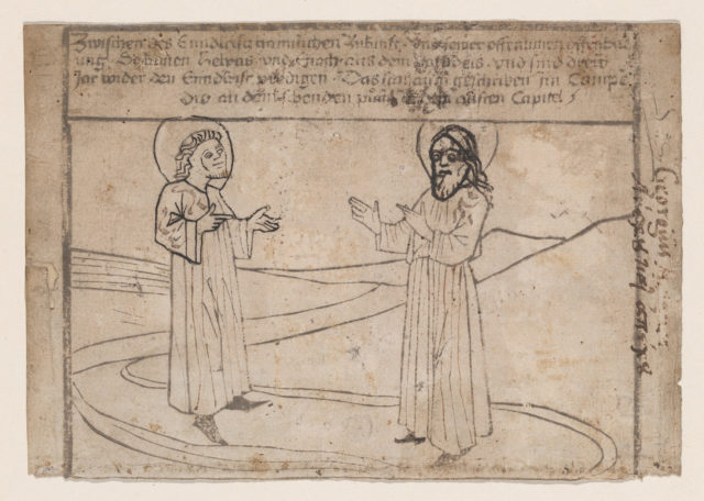 Moses Receiving the Law, illustration from a Biblia Pauperum blockbook, 4th edition