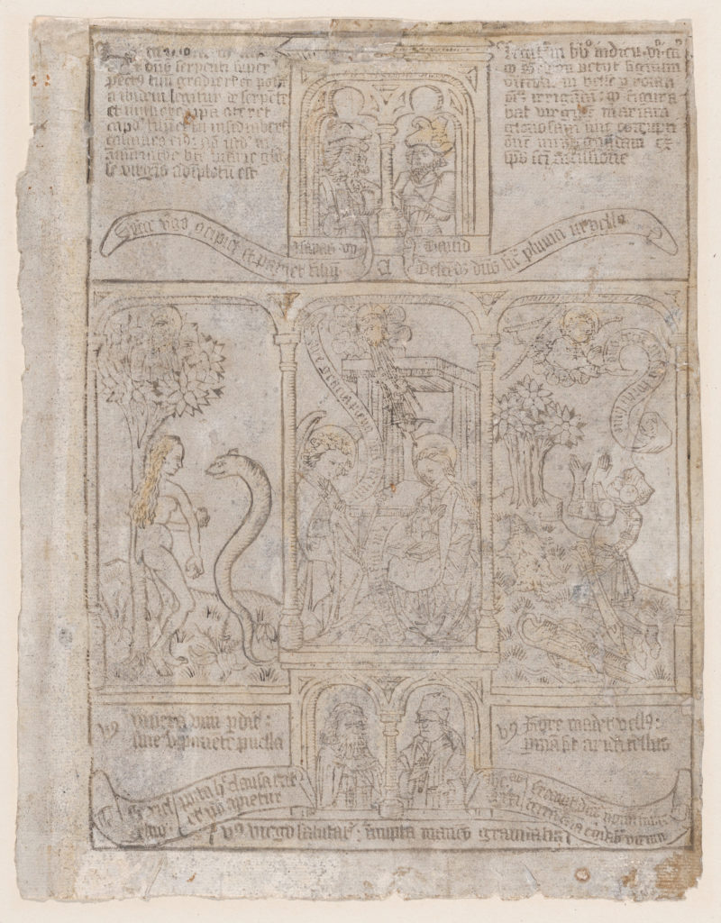 The Annunciation, flanked by Eve and the Serpent and Gideon's Fleece, from a Biblia Pauperum blockbook, 3rd edition
