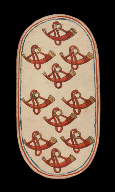 10 of Horns, from The Cloisters Playing Cards
