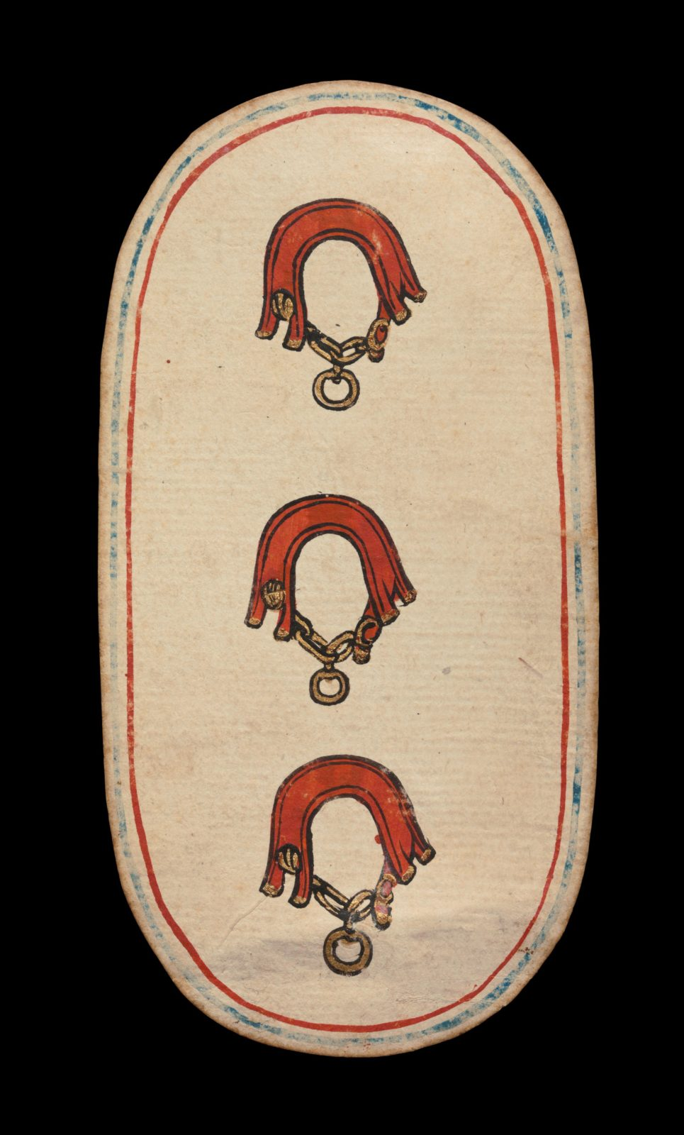 3 of Collars, from The Cloisters Playing Cards