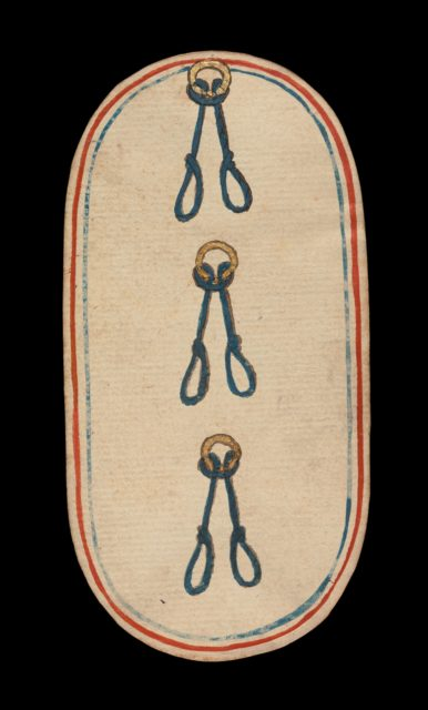 3 of Nooses, from The Cloisters Playing Cards