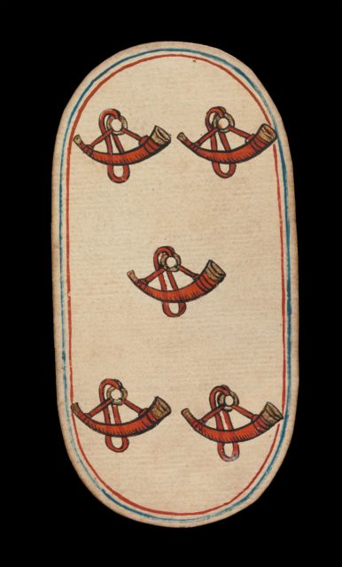 5 of Horns, from The Cloisters Playing Cards