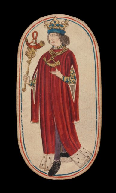 King of Horns, from The Cloisters Playing Cards