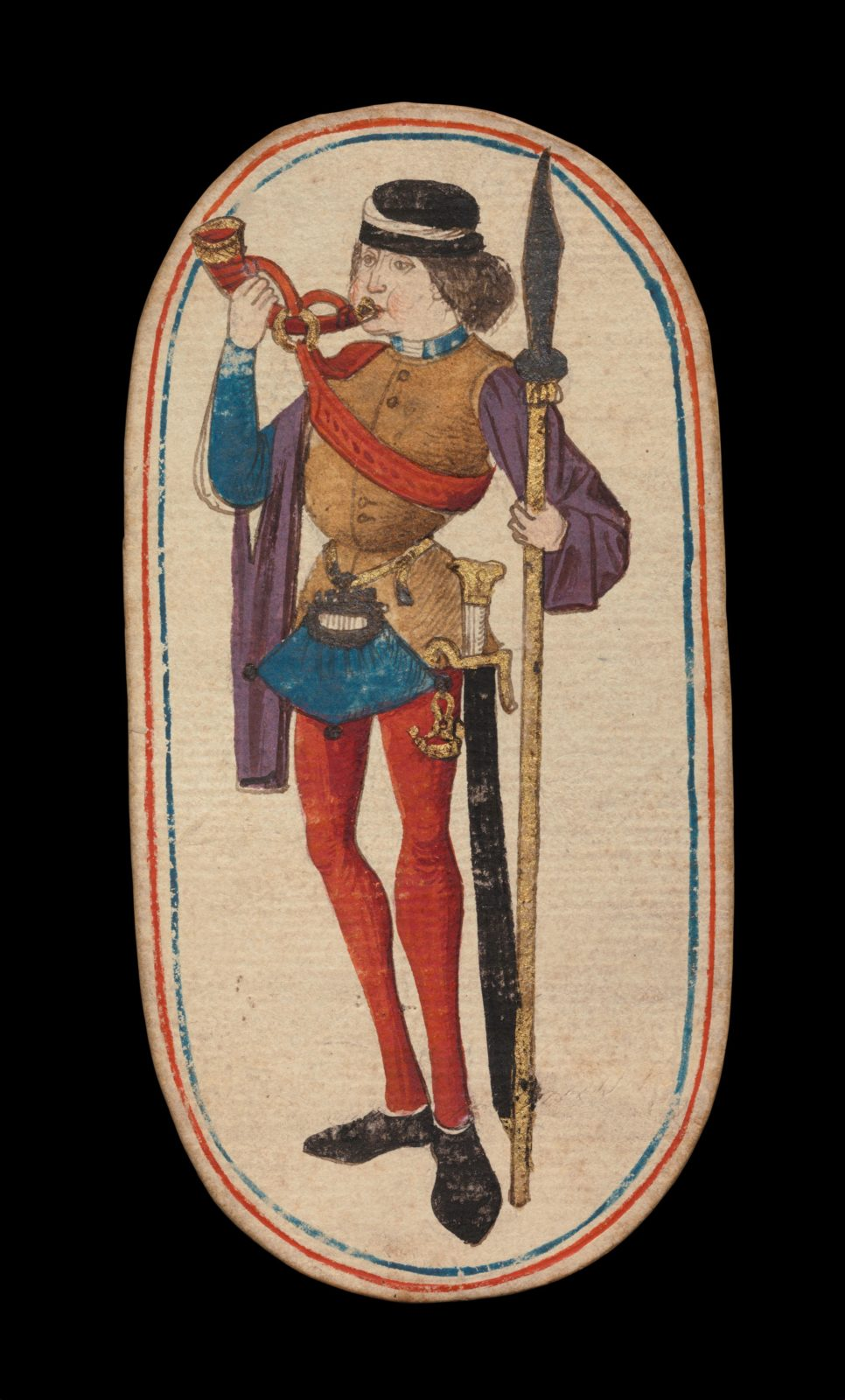 Knave of Horns, from The Cloisters Playing Cards
