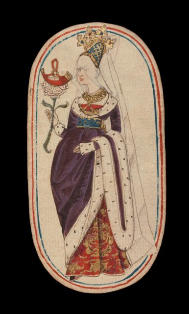 Queen of Horns, from The Cloisters Playing Cards