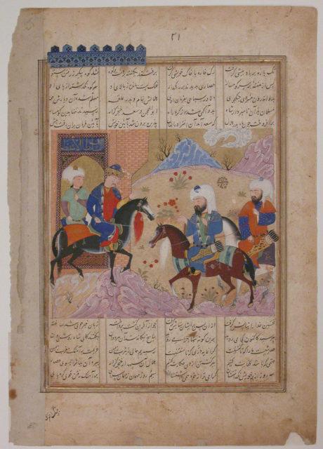 """Abu'l Mihjan and Sa`d ibn Abi Wakkas Become Angry and Leave King Khusrau (?)"", Folio from a Khavarannama (The Book of the East) of ibn Husam al-Din"