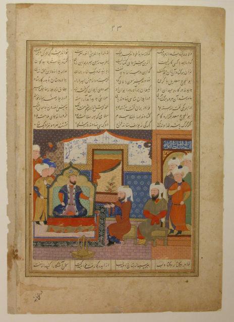 """Abu'l Mihjan and Sa`d ibn Abi Wakkas Before a Ruler"", Folio from a Khavarannama (The Book of the East) of ibn Husam al-Din"