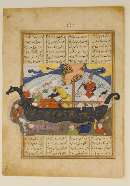 """""""Amr has the Infidels Thrown into the Sea"""", Folio from a Khavarannama (The Book of the East) of ibn Husam al-Din"""