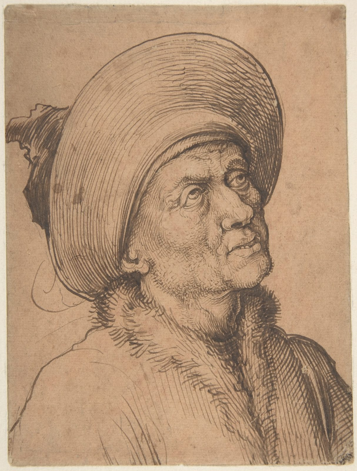 Bust of a Man in a Hat Gazing Upward