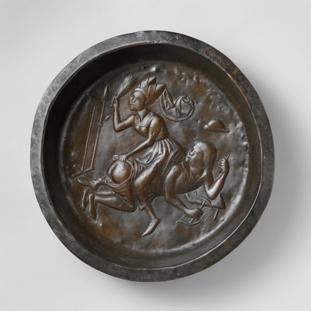 Plate with Wife Beating Husband
