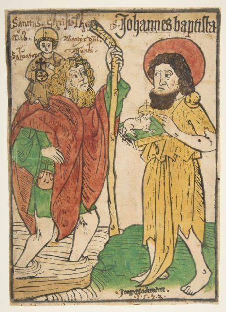 Saint Christopher and Saint John the Baptist (Sch.1379m)