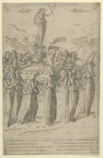 The Triumph of Chastity; she stands on a vase upon a chariot, before her kneels Cupid bound and blindfolded, the chariot is escorted by young women, leading them a maiden carrying a banner with the emblem of an ermine, illustration to Petrarch's 'Triumph of Chastity'