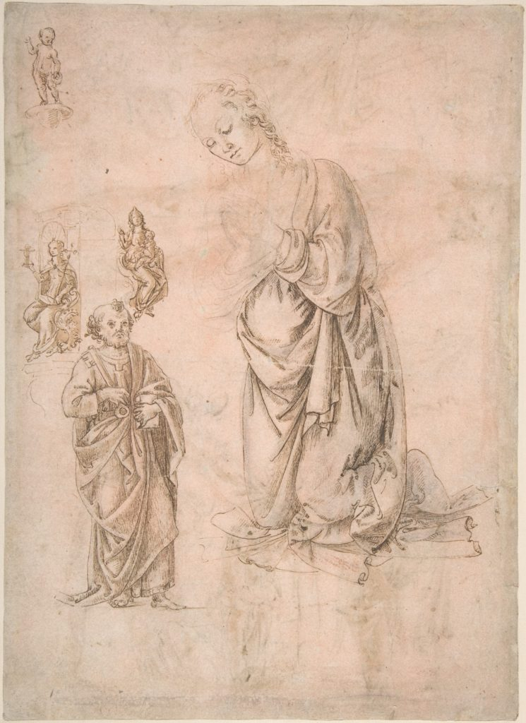 Sketches of Figures of the Virgin Kneeling, Saint Peter Standing, Seated Allegorical Figures of Faith and Charity, and Child Standing on a Corbel (?) (recto); Sketches of Figures of Saint Sebastian Standing and the Virgin and Child with Angels (verso)