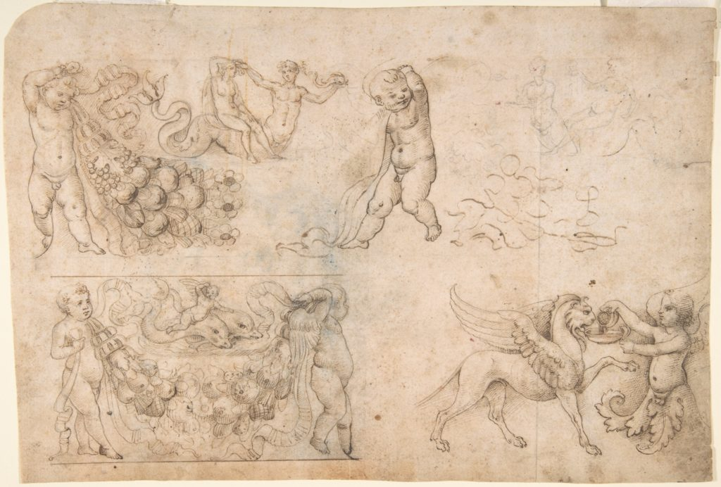 Studies after Antique Frieze Figures, Including Putti with Garlands, with a Chimera and Dolphins (recto); Sketch of a Head (verso)