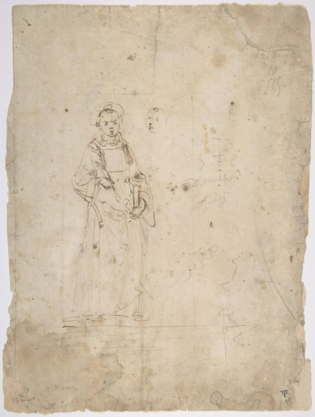 Standing Figure of Saint Stephen and the Head of Another Figure Within the Framing Outlines of a Rectangle, Crude Sketch of the Head of Another Figure, Undecipherable Sketch of a Polygonal or Circular Object with Small Projections