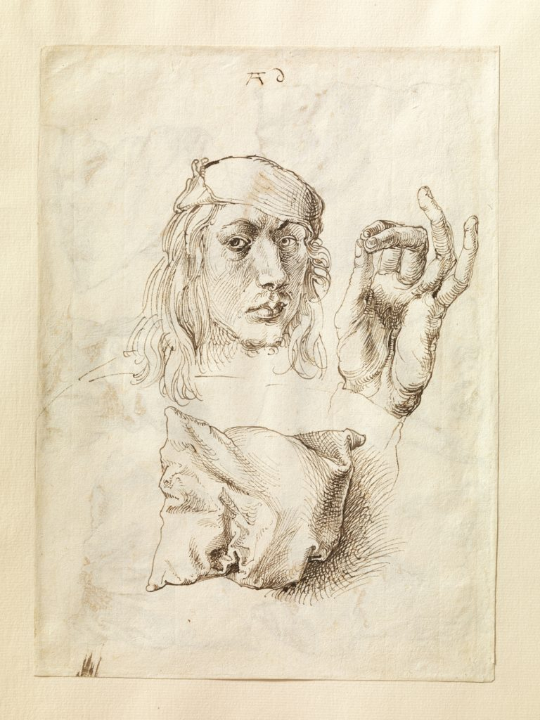 Self-portrait, Study of a Hand and a Pillow (recto); Six Studies of Pillows (verso)