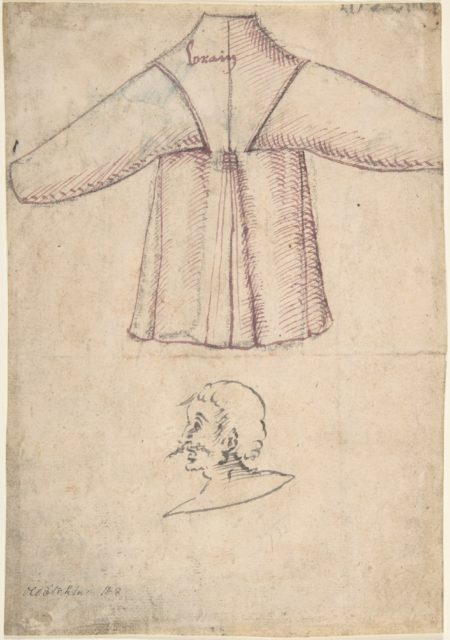 A costume and a sketch of a man in profile