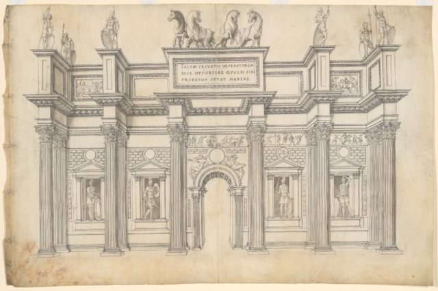 A Monumental Archway with Five Bays in the Corinthian Order