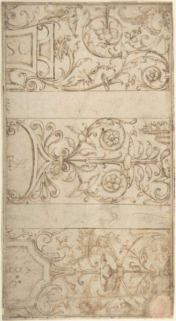 Antique-Style Ornamental Frieze Design: Lettered Panels, Rinceaux, and Masks