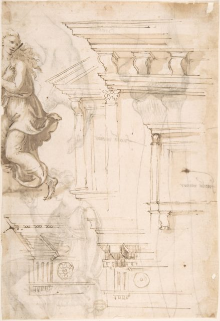 Architectural Sketches and a Figure (recto); Figure and Anatomical Sketches (verso)