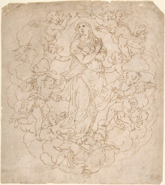 Assumption of the Virgin (Recto); Figure Sketches (Verso)
