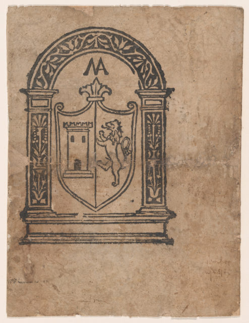 Book illustration or more likely a trademark with a coat of arms featuring a lion and a tower set within an arch