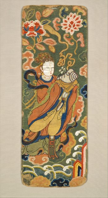 Book or Sutra Cover with Lady Bearing a Conch