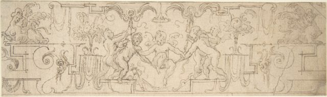 Decorative Frieze with Putti Playing on a Swing