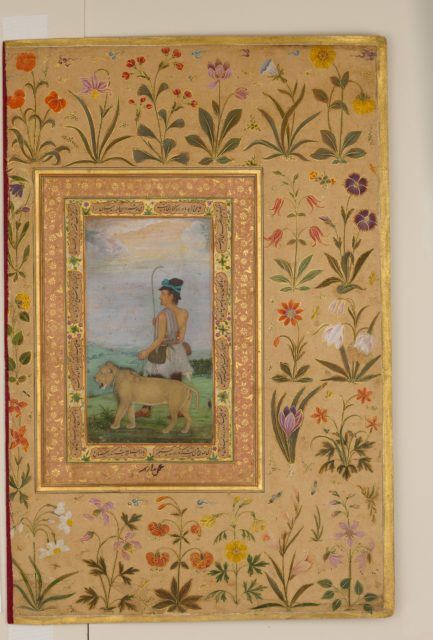 """Dervish With a Lion"", Folio from the Shah Jahan Album"
