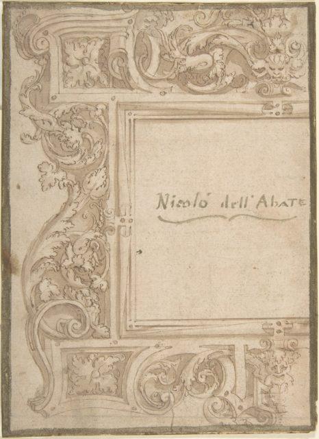 Design for a Cartouche (recto); Fragments of the Plan of a Building (Church?) (verso); two separate sheets glued back to back