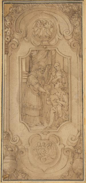 Design for a Cartouche with a Religious Subject in the Central Compartment
