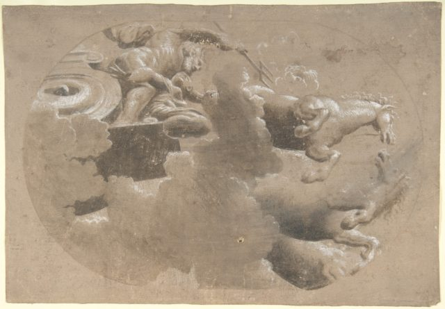 Design for a Ceiling:  Male Figure with a Trident and Another Figure in a Horse Drawn Chariot