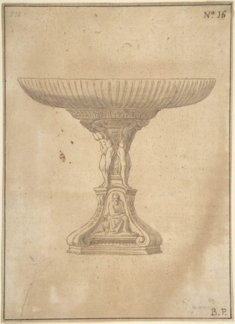 Design for a Cup Supported by Standing Nudes with Standard of Seated Figure with Book and Bird