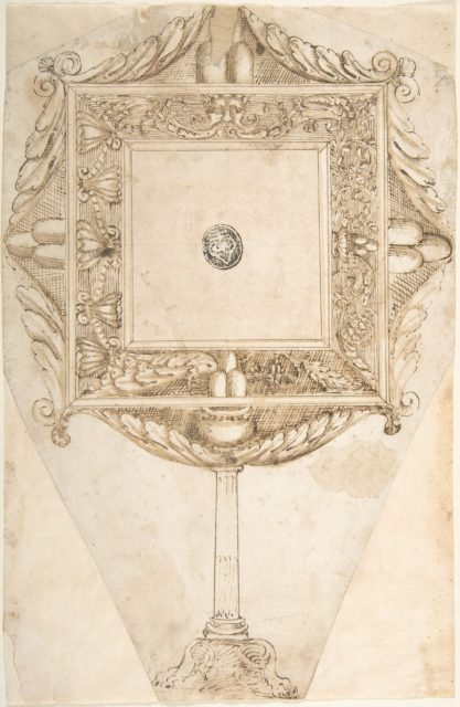 Design for a Mirror with the Sigil of Three Mountains (Family Crest of the Monti?)